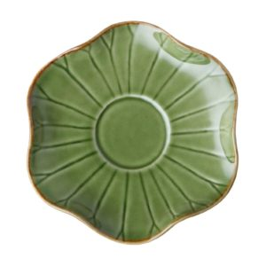 green gloss with brown rim lotus saucer saucers