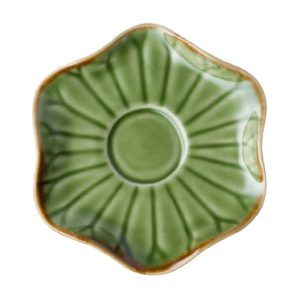 espresso green gloss with brown rim lotus saucer saucers