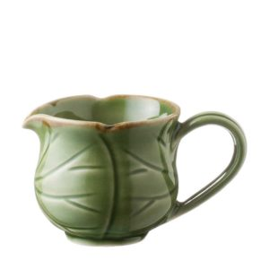 creamer creamers green gloss with brown rim lotus
