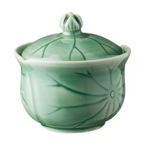 bowl dark green gloss lotus sugar