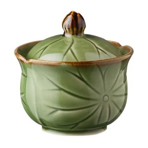 bowl green gloss with brown rim lotus sugar sugar bowl