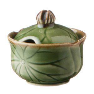 green gloss with brown rim lotus salt