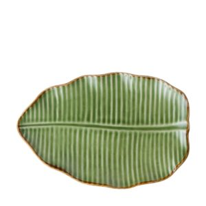 banana leaf collection grenn gloss with brown rim