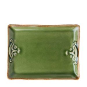cili collection dining green gloss with brown rim plate serving plates
