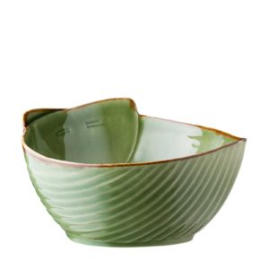 grenn gloss with brown rim pincuk salad bowl