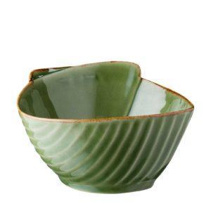grenn gloss with brown rim pincuk soup bowl