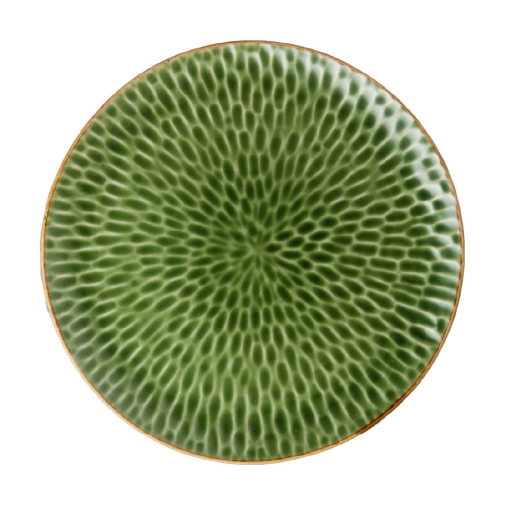 Hammered Dinner Plate Green Gloss With Brown Rim
