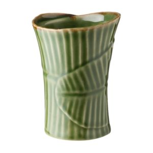 banana leaf ceramic cup drinkware glass grenn gloss with brown rim mug stoneware water