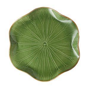 dinner plate grenn gloss with brown rim lotus