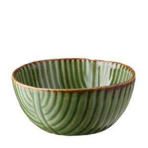 banana leaf bowl grenn gloss with brown rim