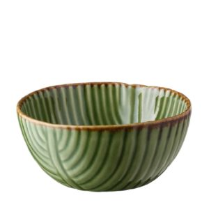 banana leaf bowl grenn gloss with brown rim