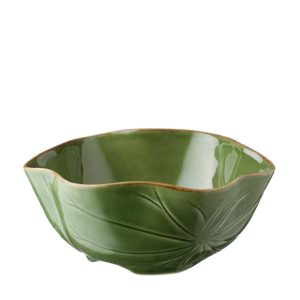 green gloss with brown rim lotus soup bowl