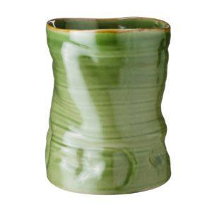 banana leaf collection grenn gloss with brown rim vase