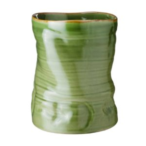 banana leaf grenn gloss with brown rim vase