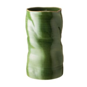 banana leaf collection grenn gloss with brown rim vase