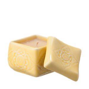 butter yellow gloss candle candle holder ceramic gift item sokasi stoneware