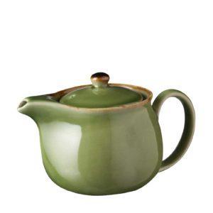 ceramic classic coffee coffee pot drinkware green gloss with brown rim jugs stoneware tea teapot