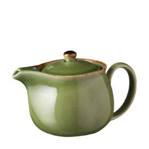 ceramic classic coffee coffee pot drinkware green gloss with brown rim jugs stoneware tea teapot