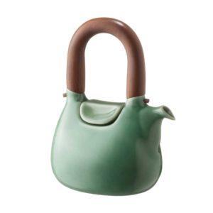 ceramic coffee coffee pot dark green gloss drinkware handbag jugs stoneware tea teapot