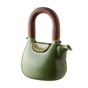 ceramic coffee coffee pot drinkware green gloss with brown rim handbag jugs stoneware tea teapot