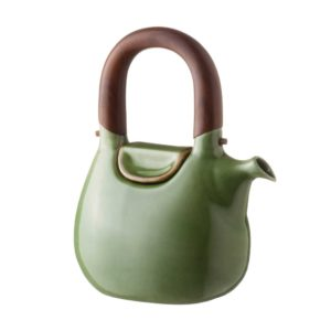 ceramic coffee coffee pot drinkware green gloss with brown rim handbag jugs stoneware tea teapot teaset