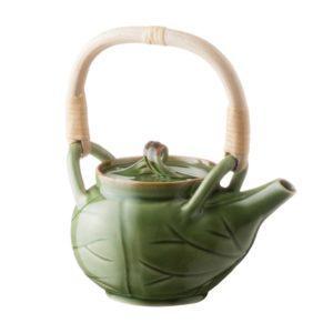 ceramic coffee coffee pot drinkware green gloss with brown rim lotus stoneware tea teapot