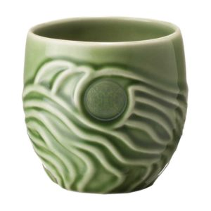 ceramic cili cup drinkware glass green gloss with brown rim mug stoneware water