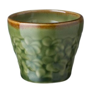 ceramic cup drinkware frangipani glass green gloss with brown rim mug stoneware water