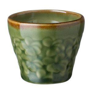 cup drinkware frangipani glass green gloss with brown rim mug stoneware water