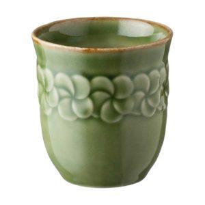 cup drinkware frangipani glass green gloss with brown rim inacraft award frangipani mug stoneware water