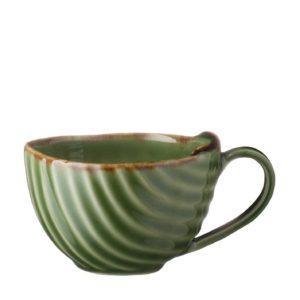 ceramic coffee cup drinkware espresso saucer glass grenn gloss with brown rim mug pincuk saucer small saucer stoneware tea teaset