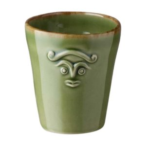 ceramic cili cup drinkware glass green gloss with brown rim mug stoneware water
