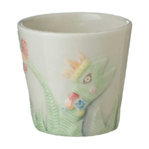 cup tomoko konno transparent white with handpainting