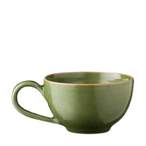 ceramic classic coffee cup drinkware glass green gloss with brown rim mug stoneware tea teaset