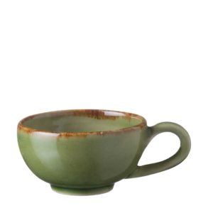 classic collection coffee collection cup drinkware espresso saucer glass green gloss with brown rim mug saucer small saucer stoneware tea teaset