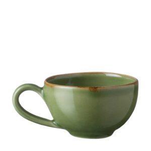 ceramic classic coffee cup drinkware espresso saucer glass green gloss with brown rim mug saucer small saucer stoneware tea teaset