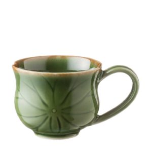 cup cups green gloss with brown rim lotus