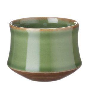 ceramic coffee cup drinkware espresso saucer glass green gloss with brown rim kendi mug saucer small saucer stoneware tea teaset