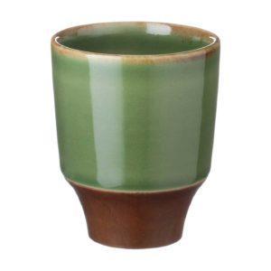coffee collection cup drinkware espresso saucer glass green gloss with brown rim kendi mug saucer small saucer stoneware tea teaset