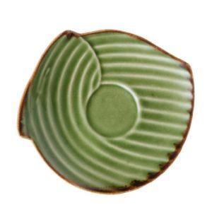 grenn gloss with brown rim pincuk saucer