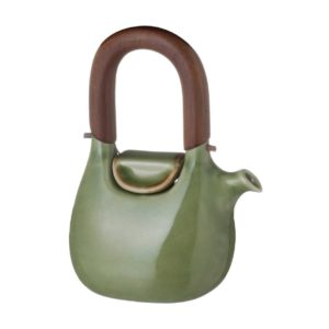 ceramic coffee coffee pot drinkware green gloss with brown rim handbag jugs stoneware tea teapot teaset