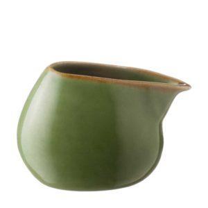 ceramic ceramic stoneware coffee creamer drinkware accessories green gloss with brown rim handbag tea teaset