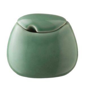 ceramic coffee dark green gloss drinkware accessories handbag stoneware sugar sugar bowl tea teaset