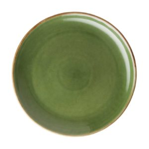 classic round dessert plate grenn gloss with brown rim