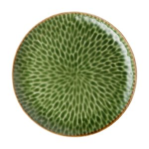 ceramic dining dining set dinner plate green gloss with brown rim hammered indonesian food large plate stoneware