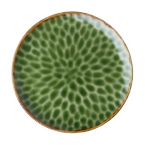 ceramic cloud dining dining set dinner plate green gloss with brown rim indonesian food large plate serving plate stoneware