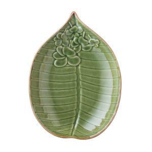 breakfast plate ceramic dessert plate dining dining set frangipani green gloss with brown rim indonesian food plate stoneware