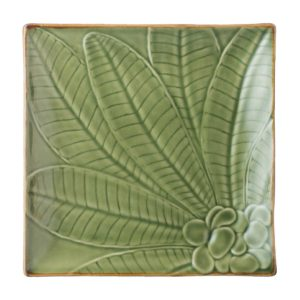 bread & butter plate ceramic dining dining set frangipani green gloss with brown rim indonesian food medium plate stoneware