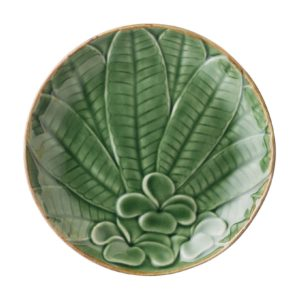 bread & butter plate ceramic dining dining set frangipani green gloss with brown rim indonesian food plate stoneware