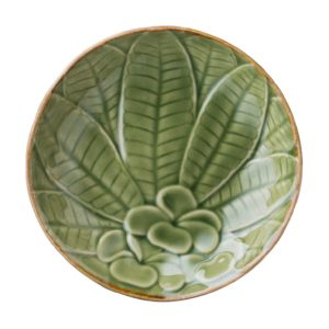 bread & butter plate ceramic dining dining set frangipani green gloss with brown rim indonesian food plate small stoneware